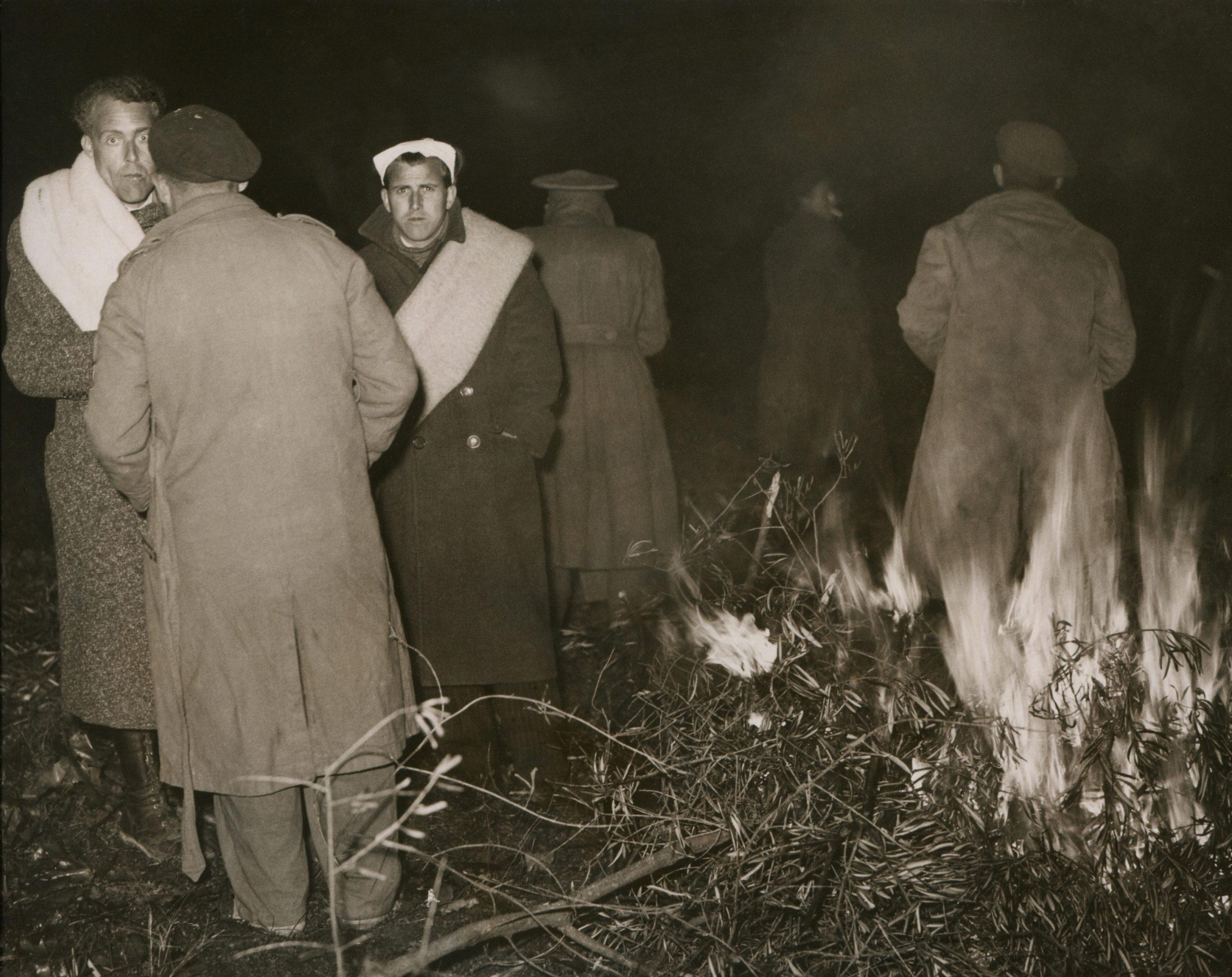Des soldats républicains vaincus en exil à Boulou (Pyrénées Orientales), 7 février 1939.